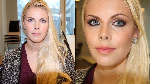 KONTURERING: Helene Larsen har på seg sminke på begge bildene. Men på bildet til venstre har makupartisten brukt en kontureringsteknikk, som gir ansiktet en mer oval form.