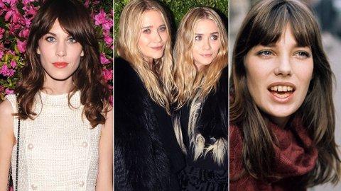 HÅRINSPIRASJON: Alexa Chung, Mary-Kate og Ashley Olsen, og Jane Birkin.