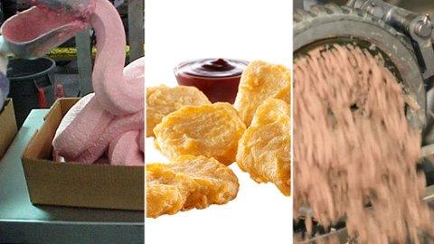 CHICKEN MCNUGGETS: Bildet til venstre viser hvordan visse mener innholdet i en McNuggets ser ut, mens bildet til høyre viser sannheten - i alle fall i følge McDonalds.