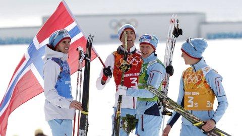 GULLGUTTA: Kombinertgutta Magnus Moan, Håvard Klemetsen, Magnus Krog og Jørgen Graabak sikret gull i lagkonkurransen. Fortsatt står de uten hovedsponsor.