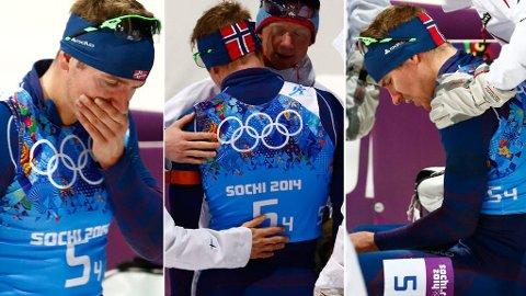 TOK DET TUNGT: Emil Hegle Svendsen måtte ha litt tid for seg selv etter å ha rotet bort gullmulighetene for Norge på stafetten. Foto: Heiko Junge / NTB scanpix
