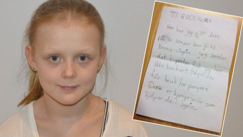 OMTENKSOM: 11 år gamle Emilia fra Porsgrunn har samlet inn 100 kroner som hun har sendt i brev til Røde Kors. Nå ønsker hun å samle inn mer til barna i Syria.