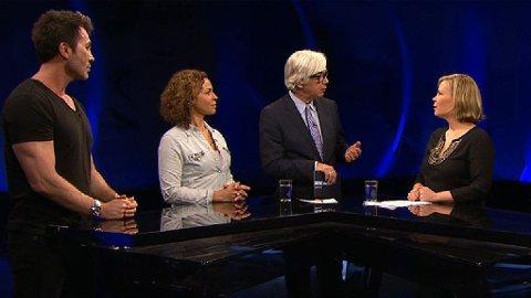 PÅ TV: Kari Jaquesson, Jan Thomas Mørch Husby, Marta Breen og Peder Kjøs møttes til debatt i «Aktuelt» på NRK 2 tirsdag kveld.