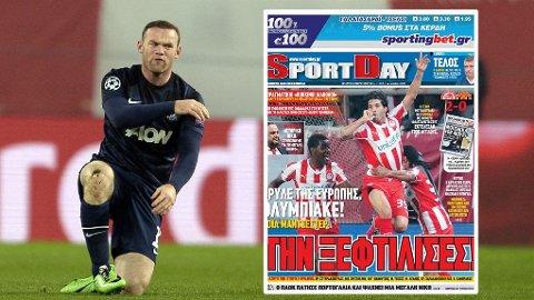 HARD MEDFART: Greske aviser hyller sitt eget Olympiakos og gjør narr av tafatte Manchester United.
