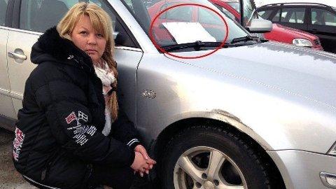 Dorethe Nilsen hadde parkert bilen utenfor Fløyahallen i Tromsø. Da hun kom fram til bilen fikk hun ikke bare ett sjokk. Foto: Stian Eliassen