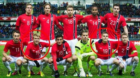 TRE MÅL: På dette bildet, av de som startet Norges siste landskamp, har kun to stykker scoret i 2014. Ruben Yttergård Jensen har to, mens Per Ciljan Skjelbred har ett mål.