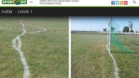 SKJEV: Slik så banen til rumenske FC Jebel II ut, etter at banemesteren angivelig hadde møtt full på jobb.