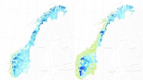 2013/2014: Som kartene viser var det veldig mye mer snø i Norge den 10. mars i fjor (kartet til venstre) sammenlignet med den samme dagen i år.