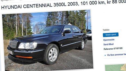 Diger luksusbil - til under 90.000 kroner! Dette er Norges eneste Hyundai Centennial, og den har en spesiell historie. Foto: Faksimile fra www.finn.no.