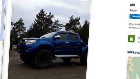 Det er dessverre rimelig mørkt på dette bildet - men her skjuler det seg en skikkeig godbit - nemlig en Toyota HiLux som har vært hos Arctic Trucks for ombygging - i størrelse 38 tommer ...