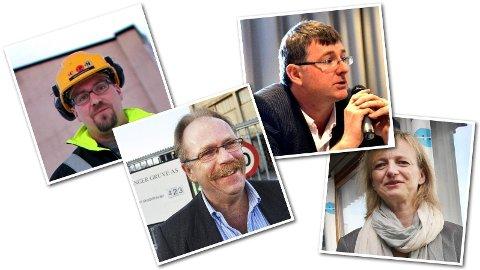 BONUSFEST: Her er fire av direktørene som fikk solide bonuser etter 2013. Fra venstre: Administrerende direktør Ismo Haaparanta i Sydvaranger gruve, utviklingsidrektør Harald Martinsen, administrerende direktør John Sanderson i Northern Iron Ltd. og administrasjonsdirektør Sissel Bækø.