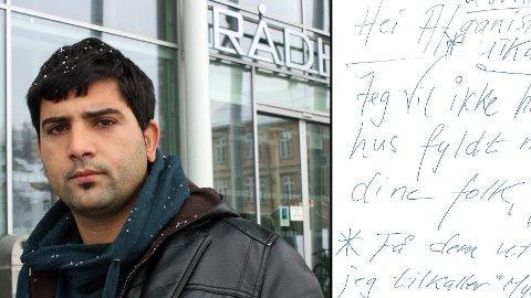 KASTET UT TO DAGER ETTER HAN FLYTTET INN: Khoshal Shinwarai (22) fra Tromsø ønsker nå å advare andre mot husverten som kastet han ut bare to dager etter at han flyttet inn. Innfelt: Brevet Shinwarai fant på stuebordet.