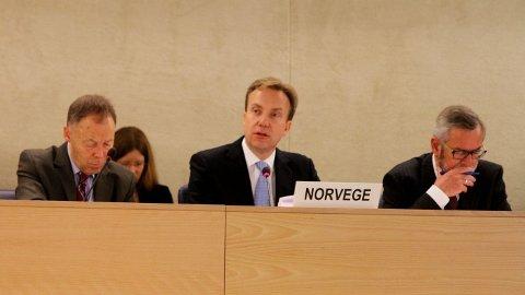 MÅTTE SVARE: Utenriksminister Børge Brende representerte Norge i FNs menneskerettighetshøring 28. april 2014.