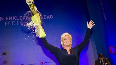 Gardermoen 20140502. Siv Jensen, partileder i Fremskrittspartiet, under FrP sitt landsmøte på Gardermoen fredag. Foto: Vegard Grøtt / NTB scanpix
