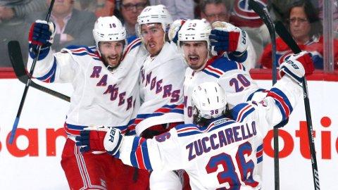 FINALEKANDIDATER: New York Rangers leder 3-2 i den ene semifinalen. Mats Zuccarello er dermed bare én seier unna å bli første nordmann i Stanley Cup-finalen.
