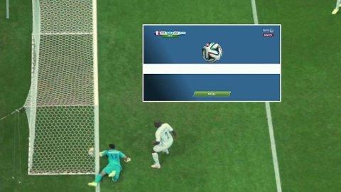 MÅL! Endelig fikk FIFA virkelig bruk for sin nye mållinjeteknologi. Her blir Karim Benzemas forsøk korrekt dømt som mål.