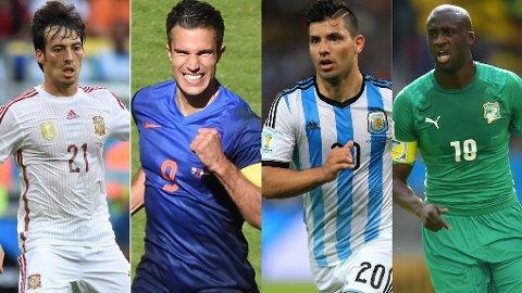 PROFILER: David Silva (Man City), Robin van Persie (Man Utd), Sergio Agüero (Man City) og Yaya Toure (Man City) er noen av de mange utenlandske stjernene i Premier League.
