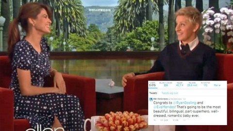 GODE VENNER: Ellen DeGeneres har flere ganger hatt besøk av Eva Mendes, sist gang i februar i år.