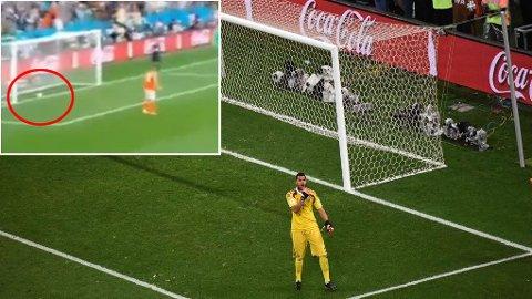 STRAFFE: Sergio Romero reddet straffen fra Ron Vlaar, men ballen rullet tilbake.