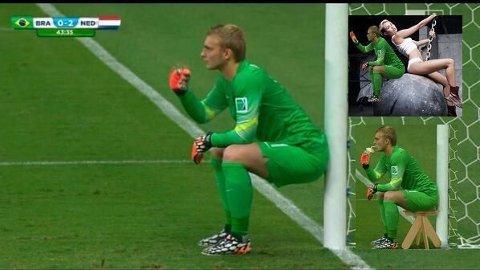 SITT NED: Snart har Nederland-keeperen sittet over hele verden.
