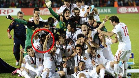 GULL: Emilio Nsue, med nummer 14 på drakten, var med i troppen som vant U21-Em i 2011.