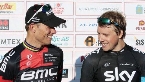 SKÆRET OPP: Thor Hushovd og Edvald Boasson Hagen snakket ut på den 18. etappen i Tour de France 2011.
