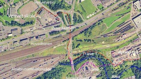 Plan- og bygningsetaten vil ha trasé 2. Her er det både bro og undergang. Men planene ligger fortsatt hos etaten.