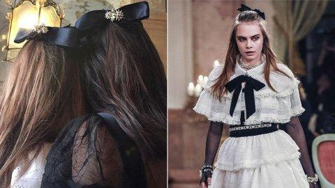 SLØYFEFIN: Cara Delevigne og Kendall Jenner gikk på catwalken for Chanel med sløyfer i håret.
