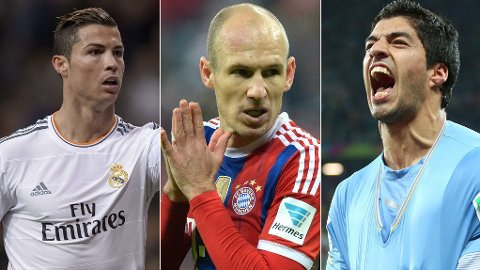 NOMINERT: Cristiano Ronaldo, Arjen Robben og Luis Suarez.