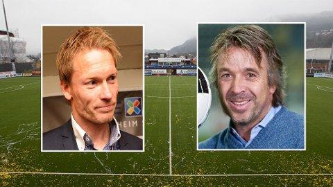 Ole Martin Årst (t.v) og Mini (t.h) mener kunstgress er positivt for utviklingen av norsk fotball. FOTO: montasje NTB scnapix