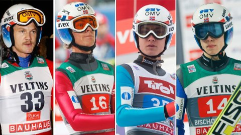 KJEMPER OM VM-PLASS: Tom Hilde, Daniel Andre Tande, Phillip Sjøen og Johann Andre Forfang kjemper om den siste plassen i Norges VM-tropp.
