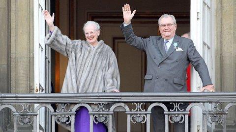 IKKE SLIK: Dronning Margrethe hadde ikke sin ektemann ved sin side da hun feiret 75-års dagen. Han ble frisk like etter, og dro til Venezia alene.