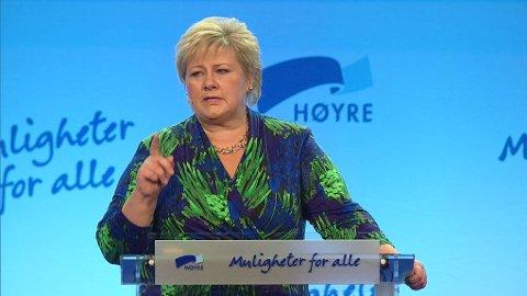 TALER: Høyre-leder Erna Solberg talte fredag ved åpningen av Høyres landmsmøte på Gardermoen.