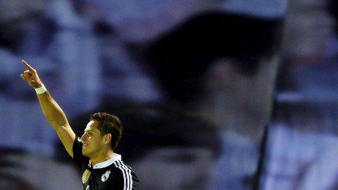 REAL MADRIDS Javier Hernandez feirer scoring mot Celta Vigo 26. april.