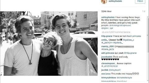 - FANTASTISKE MENNESKER: Ashley Tiesdale omtaler Dylan og Cole Spruose som lillebrødrene sine.