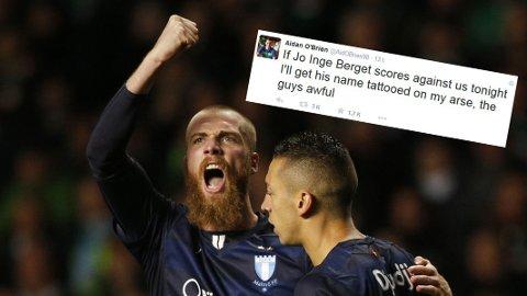 KONGEN AV CELTIC PARK: Jo Inge Berget sørget for at Champions League-håpet til Malmö lever i aller høyeste grad nærmest på egenhånd. Det fikk en Celtic-supporter kjenne på kroppen. FOTO: NTB scanpix/ Twitter @AidObrien98
