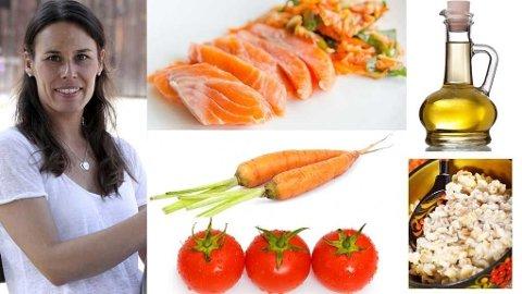 Ernæringsfysiolog Camilla Andersen mener du kan sette sammen kostholdet ditt på mange ulike måter, men både tomat, gulrot, laks, olje og byggryn er gode og næringsrike matvarer som kan være fineå bruke i hverdagen.