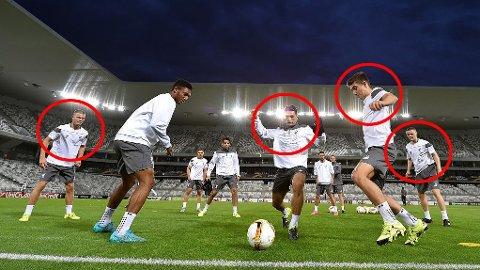TRENING: Flere av Liverpools unggutter i aksjon under trening i Bordeaux.