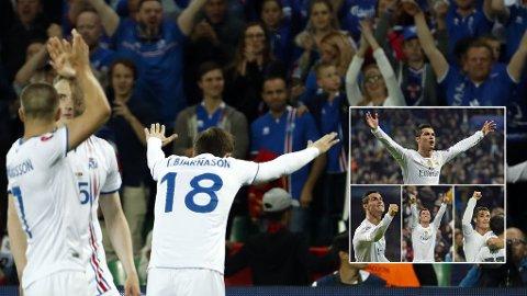 FEIRENDE FOLK: Cristiano Ronaldo var kritisk til Islands feiring etter 1-1 mot Portugal. Han er ikke ukjent for å juble mye selv, uavhengig av målene hans er viktige. Bildene i innfelt ramme viser Ronaldos jubel etter fire ulike mål i en 8-0-triumf mot Malmö i Champions League.