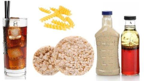 Sukkerholdig drikke, pasta, riskaker og fettfri dressing er noen av tingene på lista.