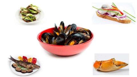 Blåskjell, havabbor, krabbe, sild og sardiner er deilig sjømat det er verdt å ha i kostholdet.
