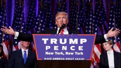 VINNER. Donald Trump taler etter at seieren er klar.