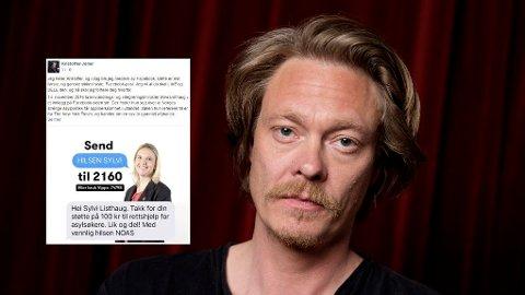 KRISTOFFER JONER gikk mandag kveld ut på Facebook og kritiserte Sylvi Listhaugs innvandringspolitikk. Han oppfordret folk til å donere 100 kroner til NOAS i Listhaugs navn, og det er det nå 26.000 nordmenn som har gjort.