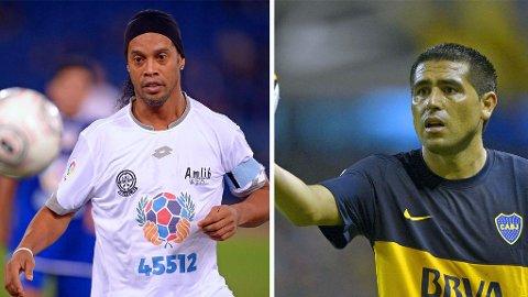 STORE NAVN: Både Brasil-legenden Ronaldinho (til venstre) og argentinske Juan Román Riquelme skal være åpne for å gjøre comeback i Chapecoense, fotballklubben som mistet nesten hele spillerstallen i en flyulykke denne uka.