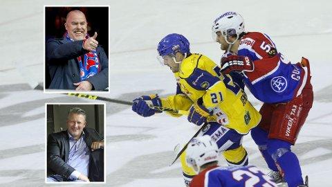 NÅTID OG FORTID: Joakim Jensen og Filip Gunnarsson (til høyre) tilhører nåtidas spillere i henholdsvis Storhamar og Vålerenga. Jan Tore Kjær (innfelt øverst) og Ole Eskild Dahlstrøm er stadig uenige om et betent tema fra rivalklubbenes historie.