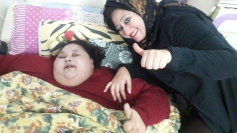 500 KILO:Eman Ahmed Abd El Aty fra Egypt sies å veie 500 kilo. Nå har hun blitt flydd til India for slankeoperasjon.