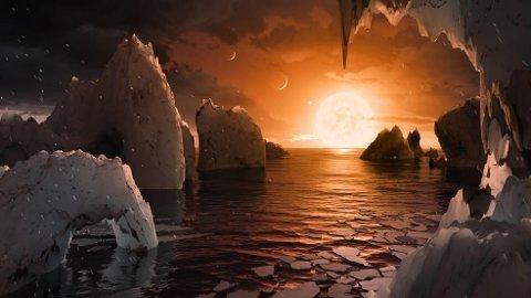 Slik mener forskere det kan se ut på en av planetene som de mener det kan være liv på.