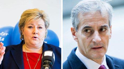 STATSMINISTERFAVORITT: Det er nærmest dødt løp mellom Erna Solberg og Jonas Gahr Støre i statsministerduellen.