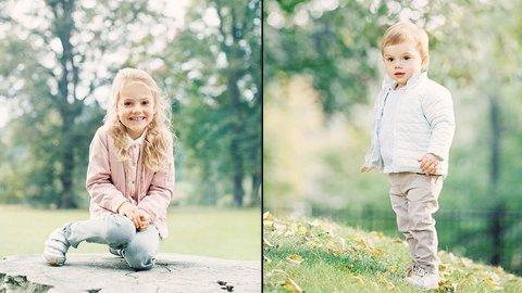 FINE: Prinsesse Estelle og lillebror prins Oscar poserer for fotografen.