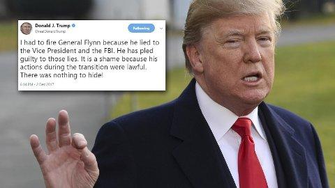 EN TWEET fra president Donald Trump lørdag fastslår at han visste at general Flynn hadde løyet til FBI da han sparket ham fra stillingen som nasjonal sikkerhetsrådgiver.